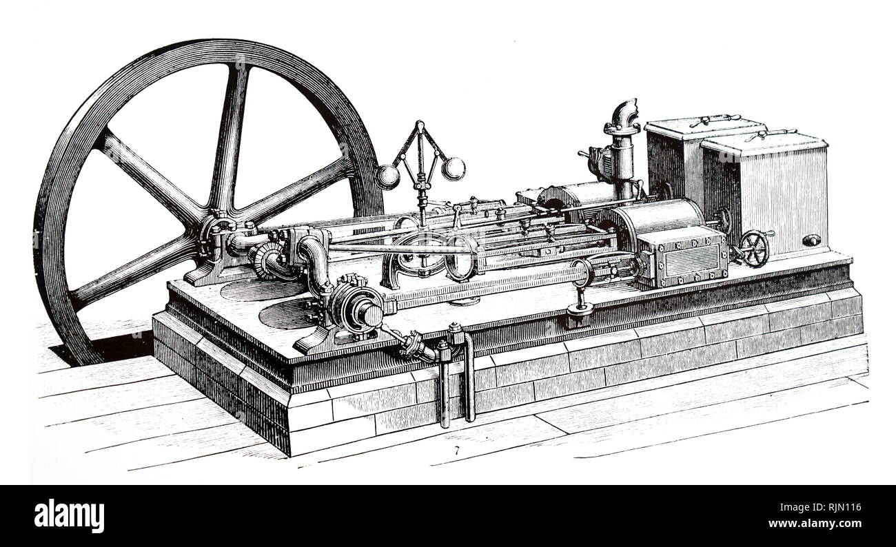 Illustration showing Horizontal steam engine showing governor and flywheel 1888 - Stock Image