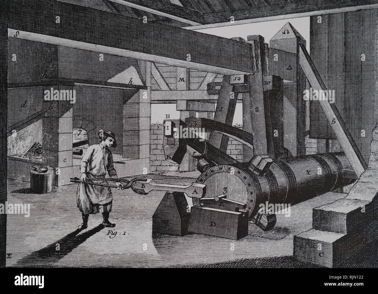 Forging the bloom - one of the stages in purifying pig iron to make it suitable for wrought iron work. The forge hammer is operated by a cam mechanism, and the camshaft is turned by a voter wheel. From Denis Diderot 'Encyclopedie', Paris, 1751-80 - Stock Image