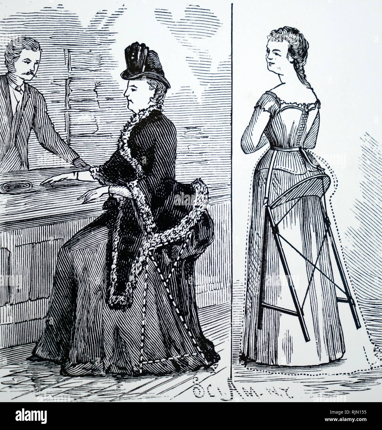 Illustration showing Combined stool and bustle to prevent ladies suffering from fatigue while shopping 1887 - Stock Image