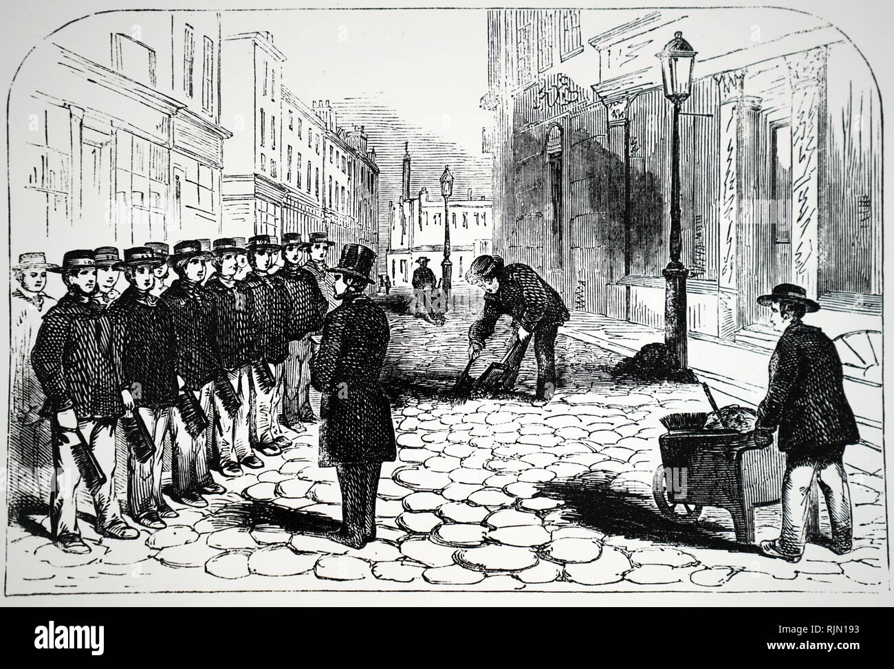 Illustration showing London street orderlies being inspected before setting off on their rounds. From Henry Mayhew 'London Labour and the London Poor' Vol. II, London, 1861 - Stock Image