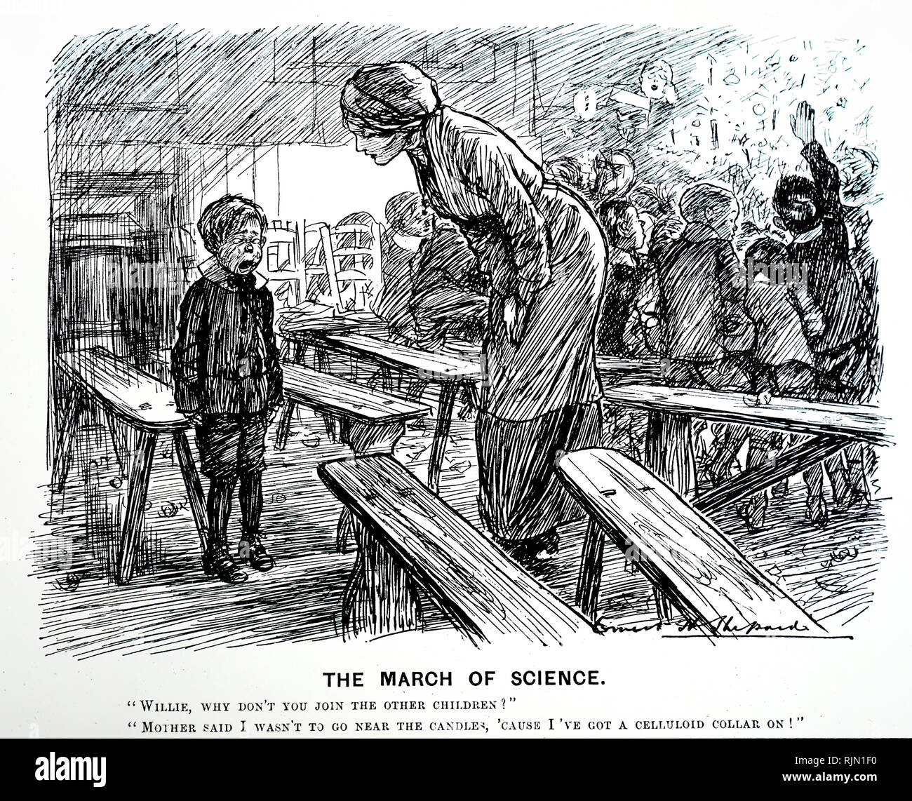 Illustration showing the perils of the celluloid collar, which was highly inflammable. Cartoon by Ernest H. Shepard from Punch,1911. - Stock Image