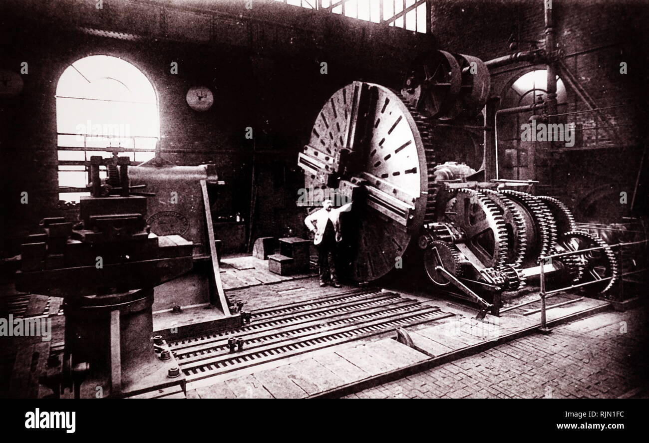 Illustration showing Ingot lathe with face plate. Thomas Firth & Sons, Norfolk Works, Sheffield, England. circa 1890 - Stock Image