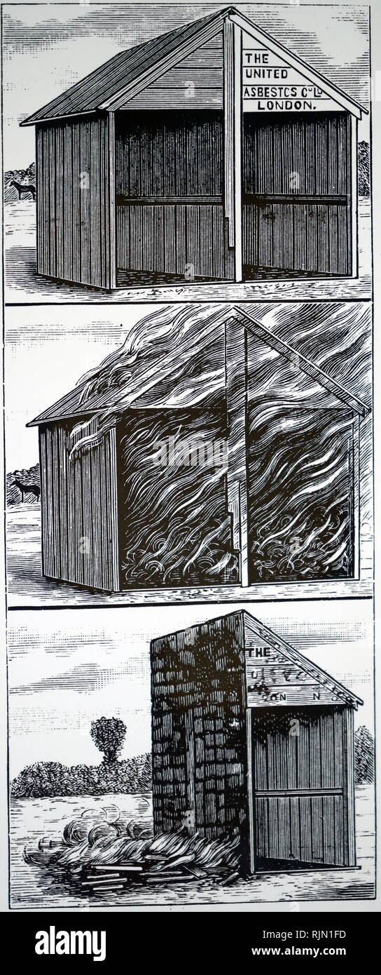 Illustration showing demonstration of fireproof properties of asbestos. Fire lit in both sections of a divided wooden hut. Left side destroyed, but right side which had been treated with three coats of asbestos pain survived. 1895 - Stock Image