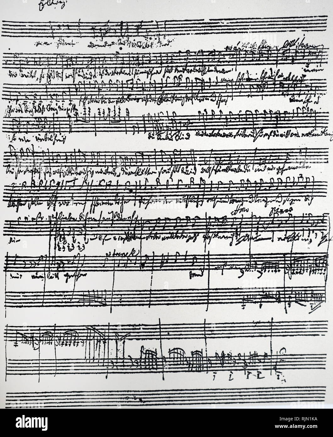 Schubert's autograph of a simplified accompaniment to his Erlkonig, one of several revisions, Franz Schubert composed his Lied Erlkonig for solo voice and piano in 1815, setting text from Goethe's poem. Schubert revised the song three times before publishing his fourth version in 1821 as his Opus 1; - Stock Image