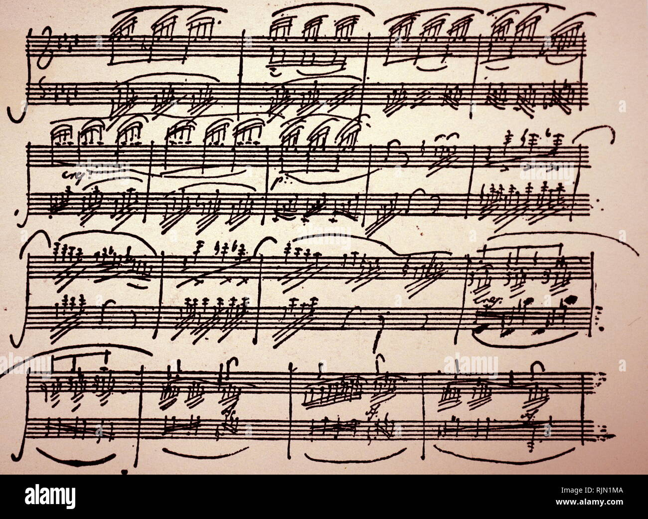 Piano Sonata No. 12 in A? major, Op. 26; 1801, by Ludwig van Beethoven. He dedicated the sonata to Prince Karl von Lichnowsky, who had been his patron since 1792. Consisting of four movements, the sonata takes around 20-22 minutes to perform. - Stock Image