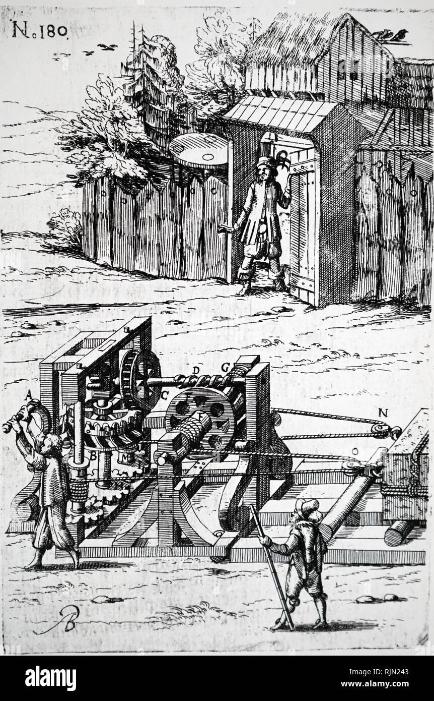 Illustration showing apparatus for moving heavy items overland by means of rollers, pulleys, winches and various types of gearing. From a German edition of Agostino Ramelli 'Le diverse et artificiose machine', published in 1620. - Stock Image