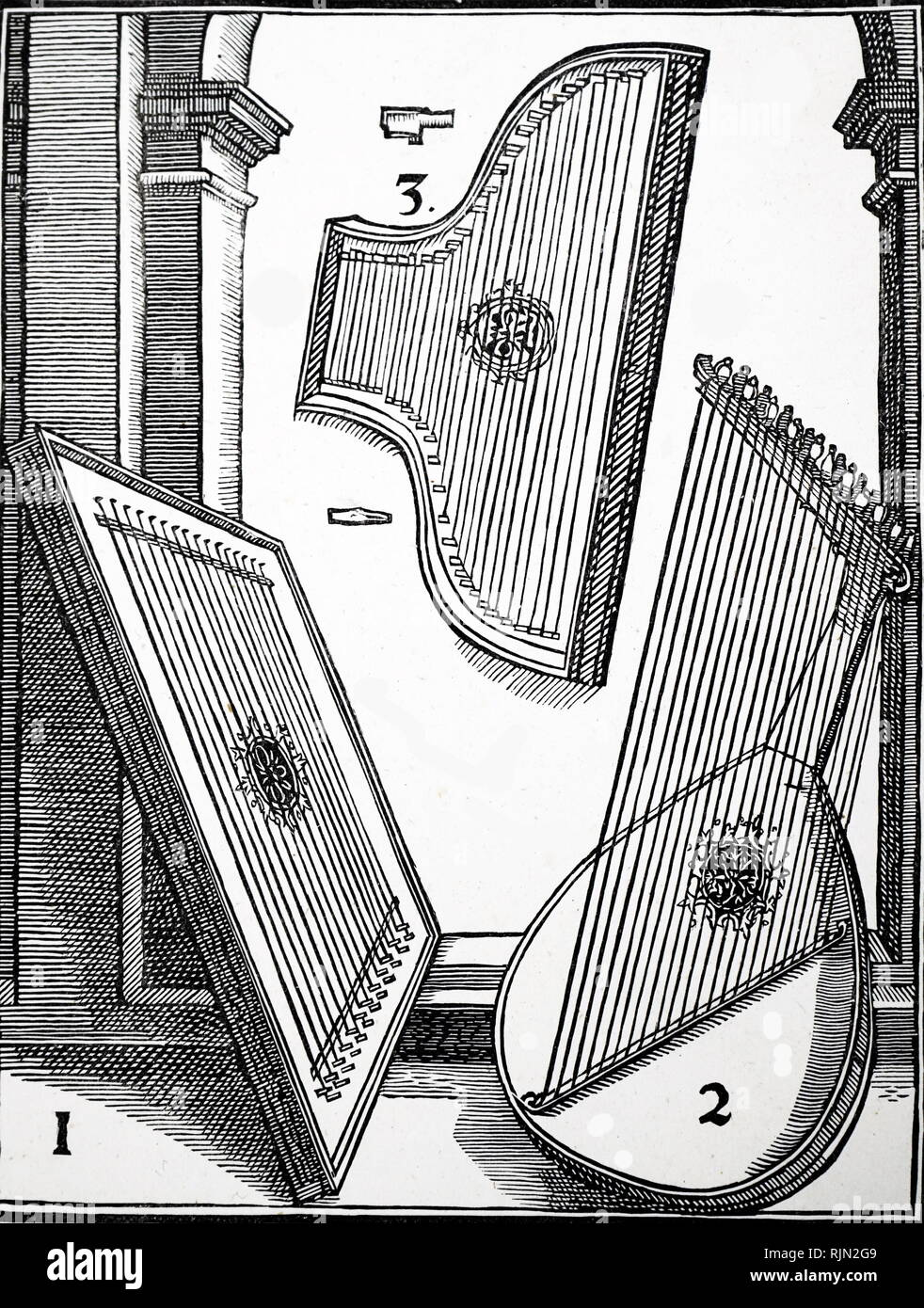 Illustration showing Stringed instruments of the 15th and 16th century; Europe. - Stock Image