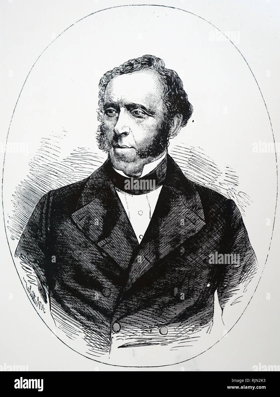 Illustration showing James Braidwood (1800-1861); Scottish fire-fighter who founded of the world's first municipal fire service in Edinburgh in 1824. - Stock Image