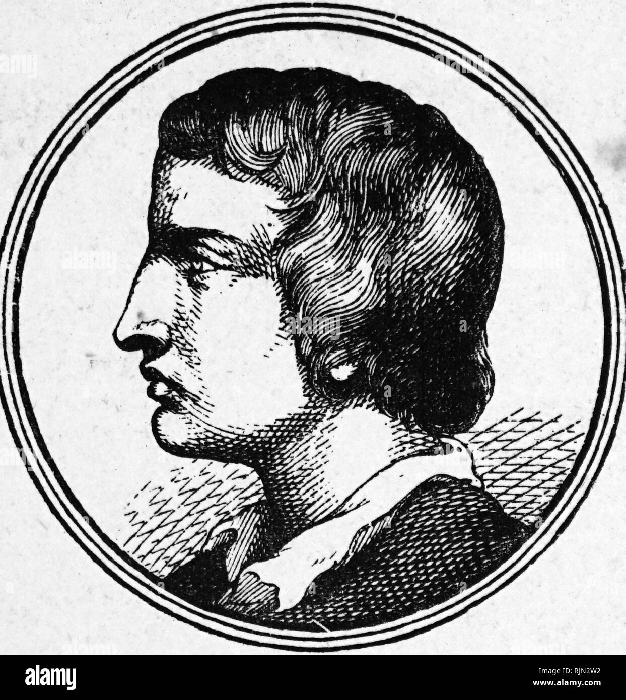 Illustration showing William Collins (1721 - 1759); English poet. Second in influence only to Thomas Gray, he was an important poet of the middle decades of the 18th century. - Stock Image