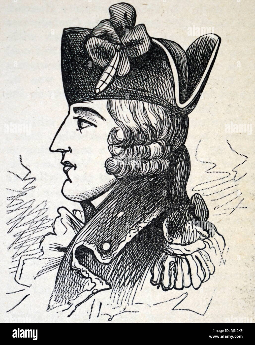 Illustration showing Major General Edward Braddock (January 1695 - 13 July 1755) was a British officer and commander-in-chief for the 13 colonies during the actions at the start of the French and Indian War (1754-1763) which is also known in Europe and Canada as the Seven Years' War (1756-1763). He is generally best remembered for his command of a disastrous expedition against the French-occupied Ohio River Valley then in western Virginia or Pennsylvania in 1755, in which he lost his life. - Stock Image