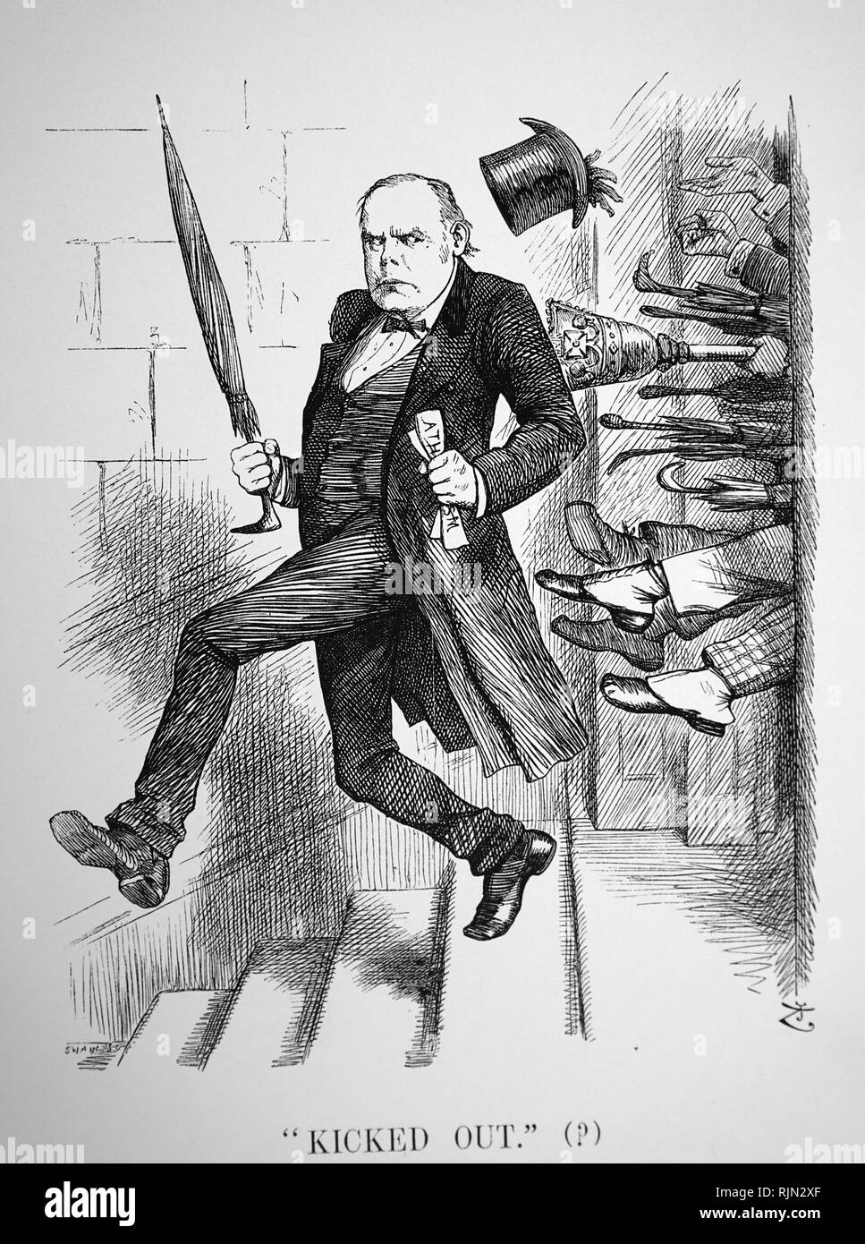 Illustration showing Charles Bradlaugh (1833 - 1891); English political activist and atheist. He founded the National Secular Society in 1866 - Stock Image