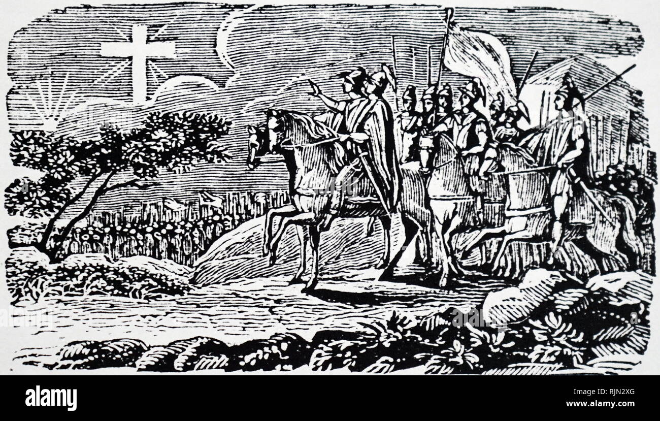 Illustration showing CONSTANTINE the Great (ca 274-337); converted to Christianity. Before the battle of Milvian Bridge when he defeated Maxentius, a flaming cross bearing the words In this conquer appeared to him Woodcut published New York 1830 - Stock Image