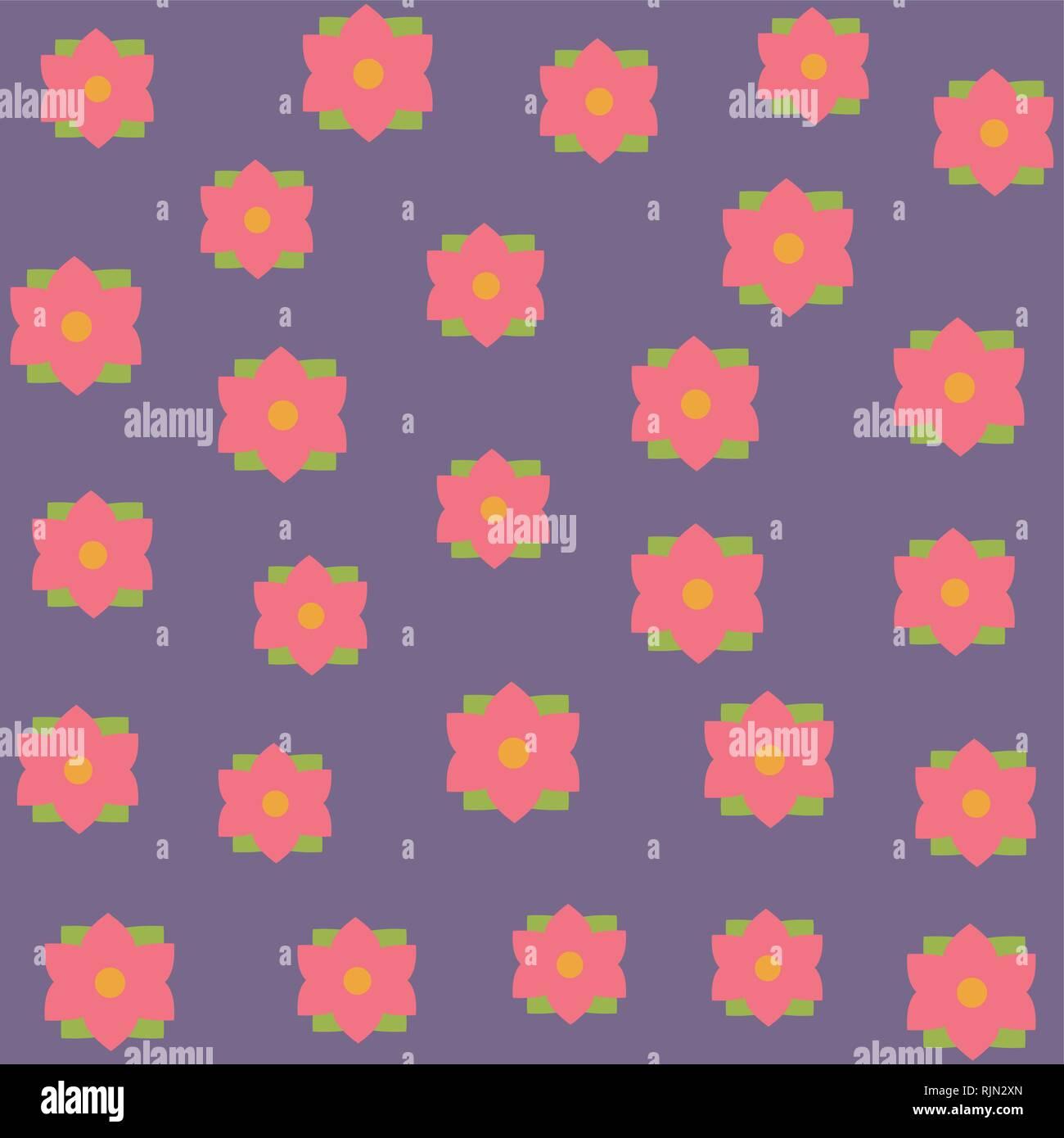 beautiful flower pattern cartoon - Stock Image