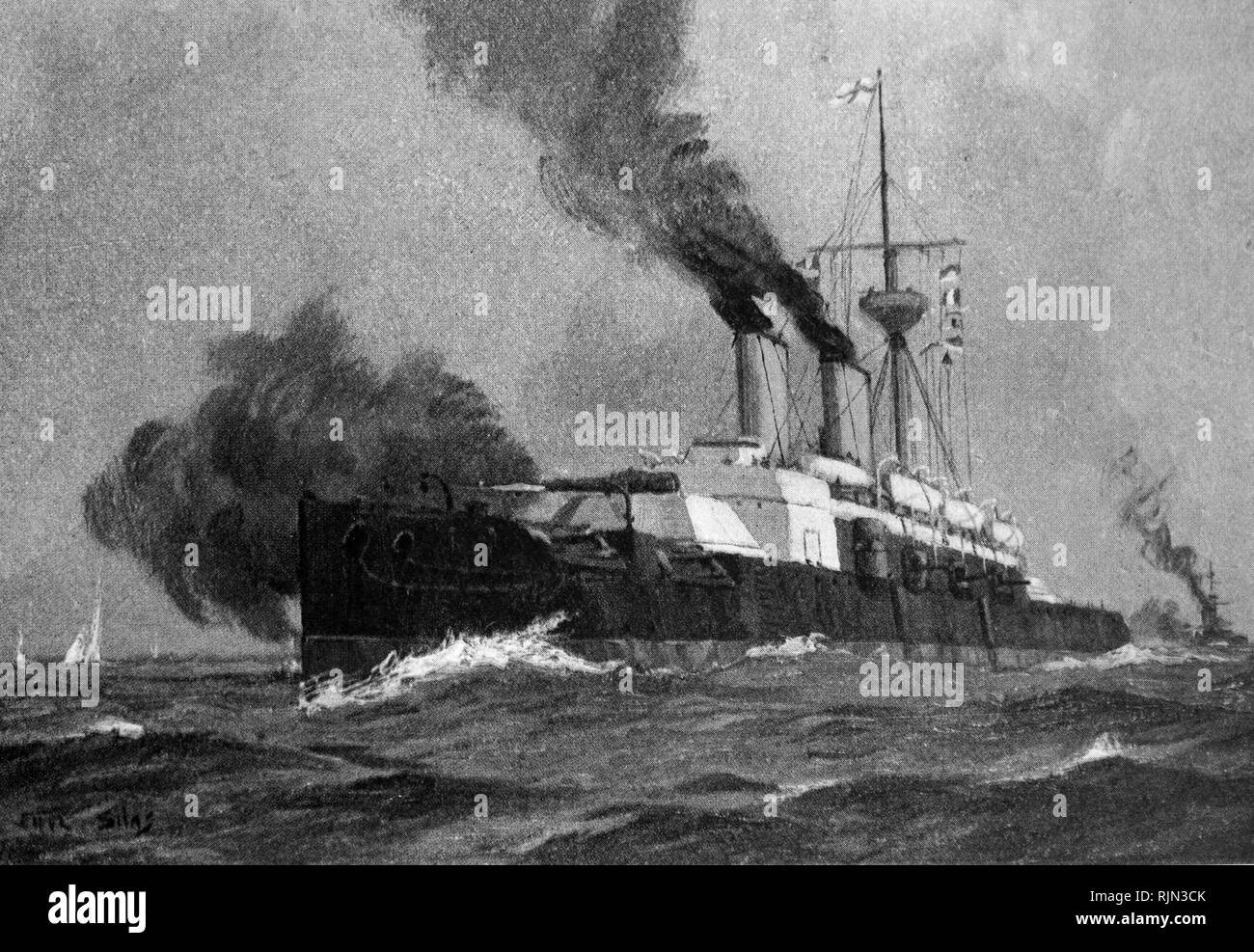 Illustration showing the Royal Navy ship 'Benbow' an ironclad warship. 1885 - Stock Image