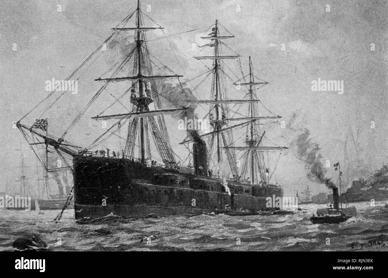Illustration showing the Royal Navy ship 'The Monarch' a turret battleship 1869 - Stock Image