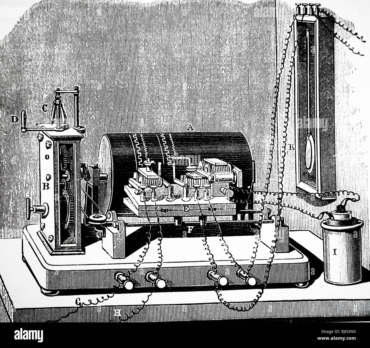 Illustration showing Electric CHRONOGRAPH. The record was traced on a drum of blackened paper. 1876 - Stock Image