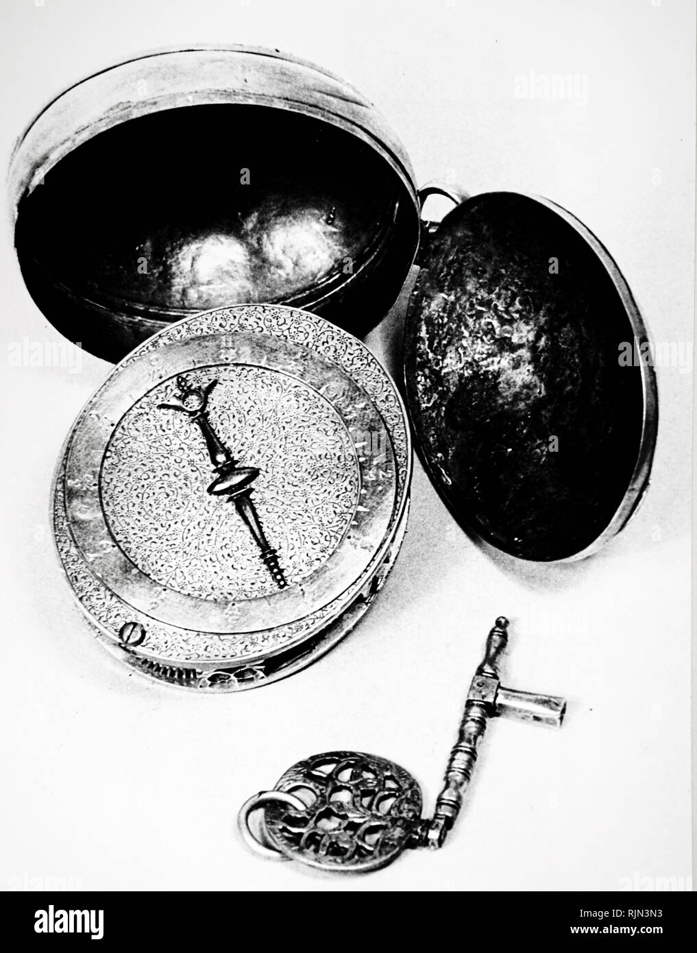 Illustration showing a Nuremberg Egg, an early type of pocket watch with a verge escapement - circa 1500. - Stock Image