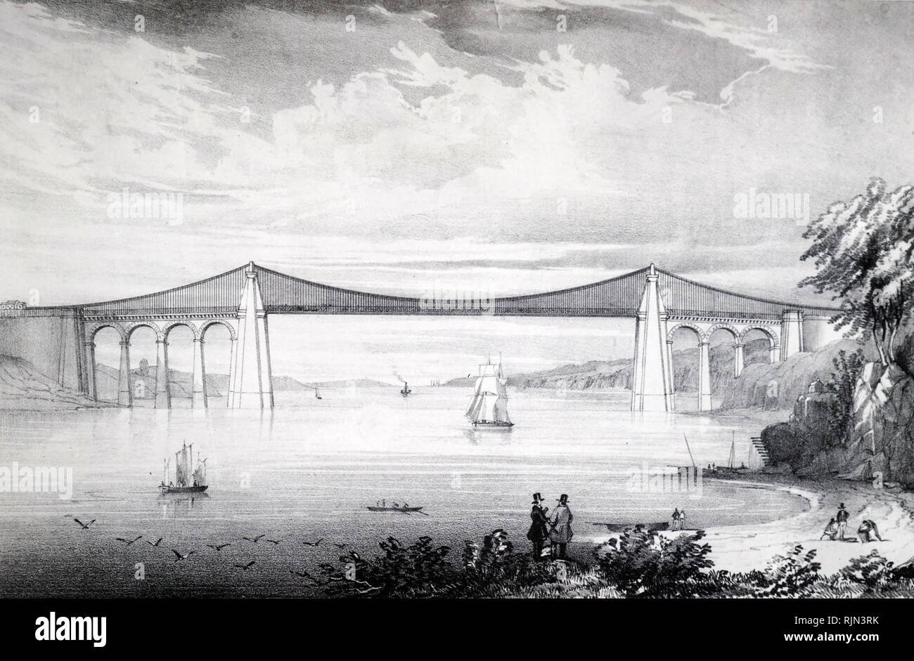Illustration showing Thomas TELFORD'S suspension bridge over the Menai Straits, built between 1820 and 1826. - Stock Image