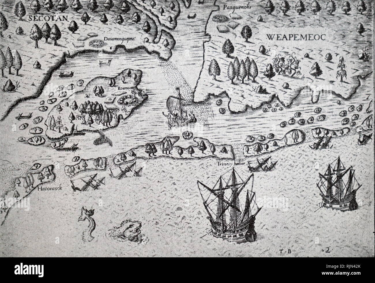 Illustration showing Roanoke Island, centre left, explored 1584 by Amadas and Barlowe, sent by Raleigh. Unsuccessful colonising attempts 1585 and 1587. After drawing of Raleigh's first colony, 1585, from De Bry Grand Voyages, Frankfort, 1590 - Stock Image