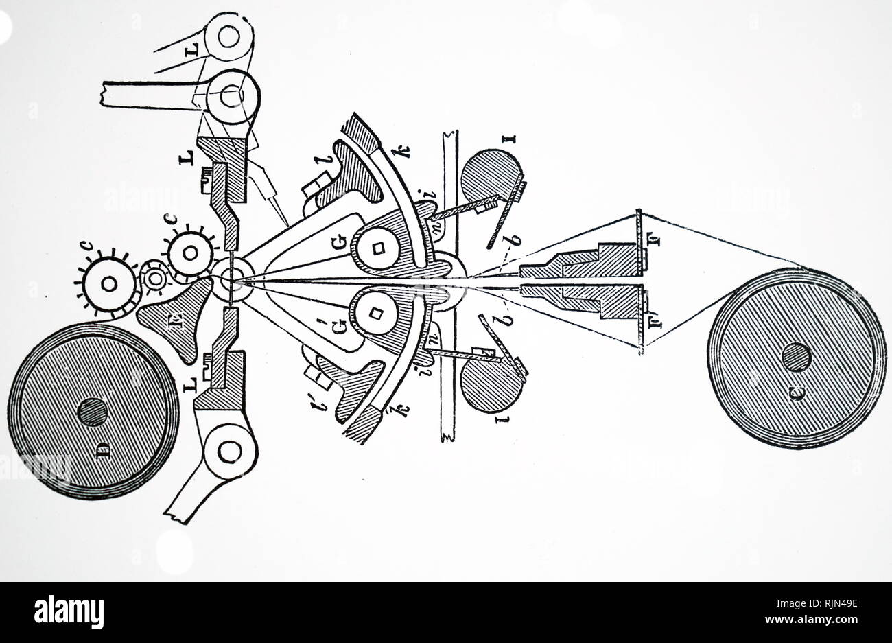 Illustration showing Mechanism of the bobbin net machine 1855 - Stock Image