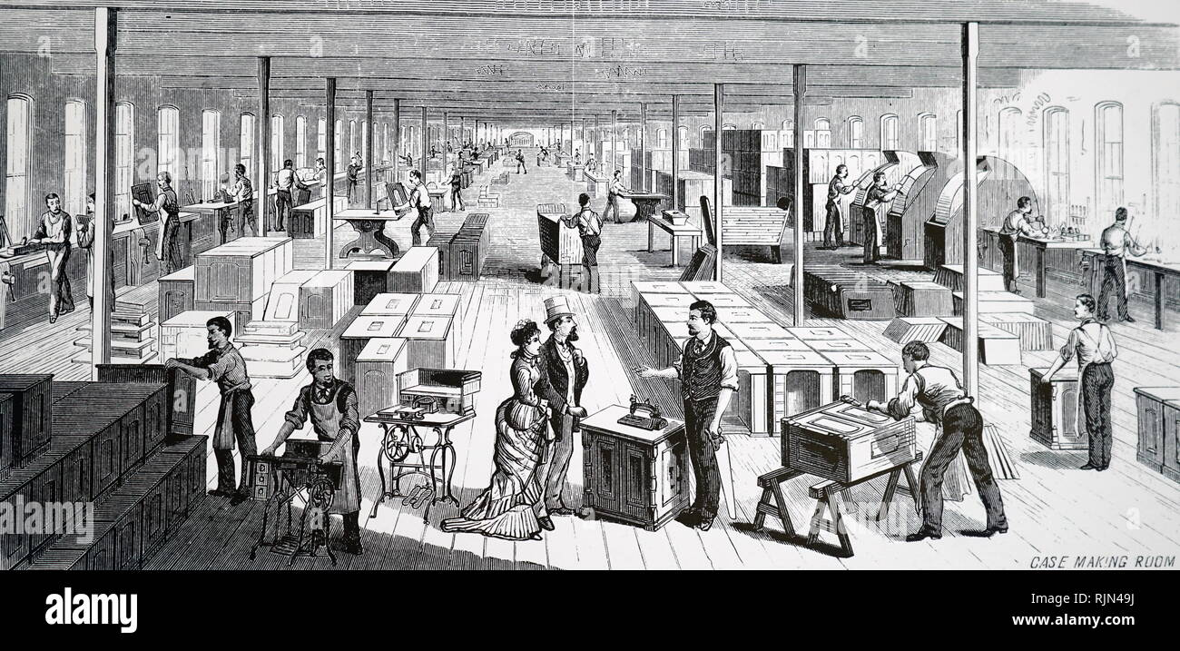 Illustration showing Prospective buyers, inspecting cabinets in the case making room at Wheeler and Wilson's sewing machine factory, Bridgeport, Connecticut. 1879 Stock Photo