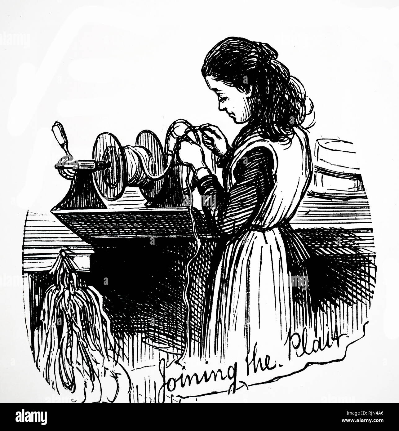 Illustration showing Joining straw plains into long lengths for use in the Luton hat, trade 1878 - Stock Image
