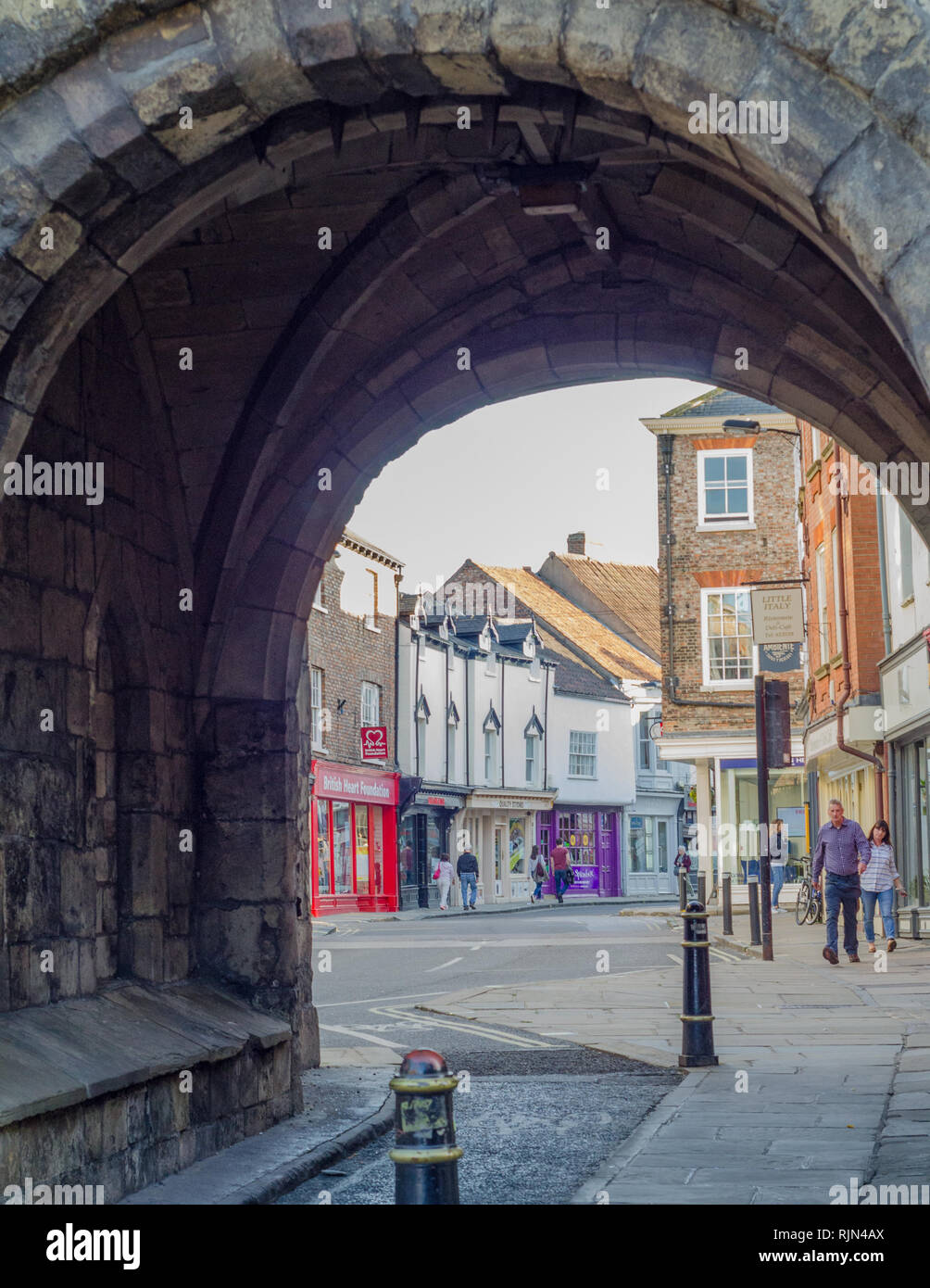A closeup of a gatehouse in the walled fortifications in York, England. - Stock Image