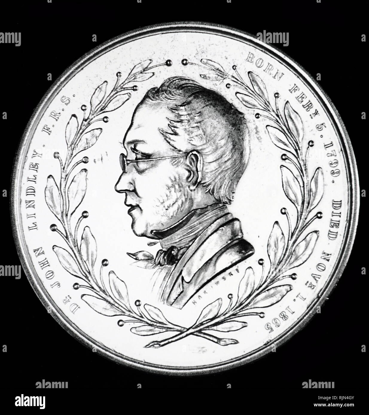 obverse of the Royal Horticultural Society's Lindley medal, showing John Lindley, (1799 - 1865); English botanist, gardener and orchidologist. Stock Photo
