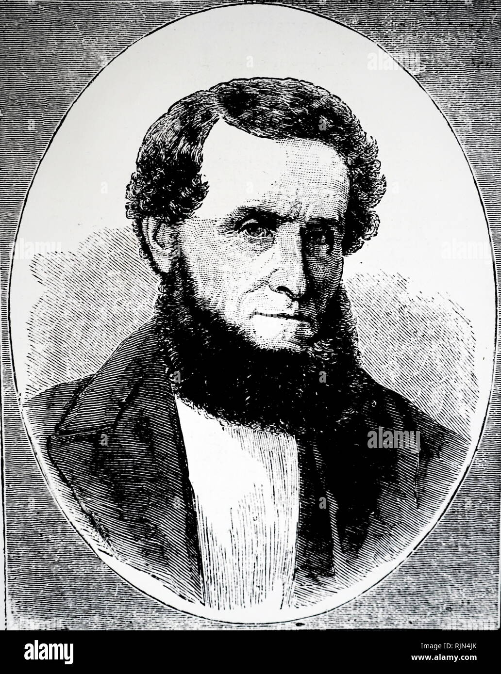 Illustration showing James Lick (August 25, 1796 - October 1, 1876); American carpenter, piano builder, land baron, and patron of the sciences. At the time of his death, he was the wealthiest man in California, and left the majority of his estate to social and scientific causes. - Stock Image