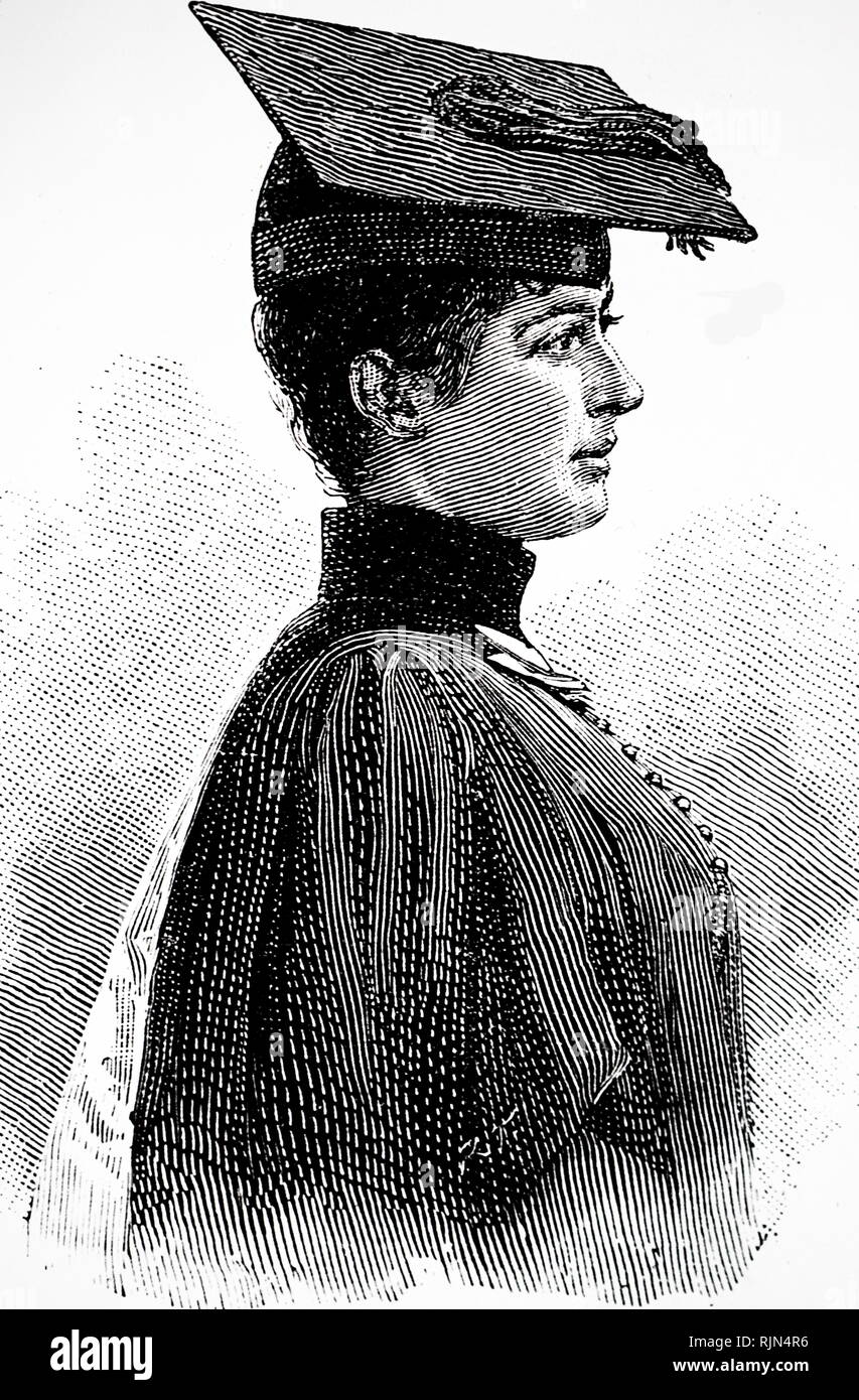 Illustration showing Ethel Montague, the first woman to gain a first class honours degree at London University -February 1889 - Stock Image