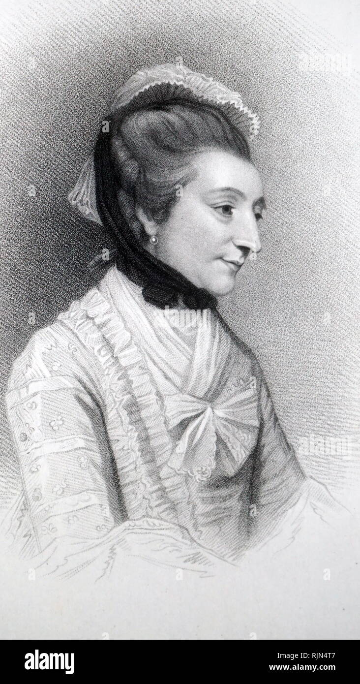 Illustration showing Elizabeth Montagu (1718 - 1800); British social reformer, patron of the arts, salonist, literary critic, and writer who helped organize and lead the Blue Stockings Society. - Stock Image