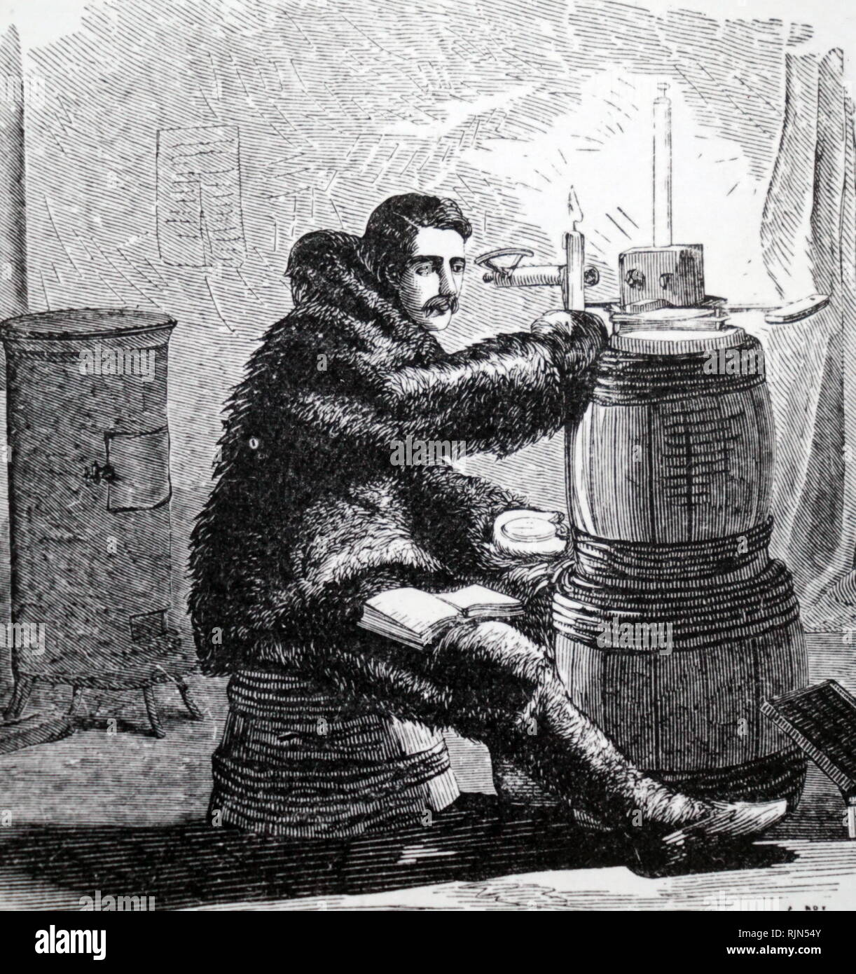 At work in the magnetic observatory perched on a pedestal of frozen gravel is a magnetometer; From Elisha Kent Kane Arctic Explorations: The Second grlnnell Expedition, in Search of Sir John Franklin, 1853 - Stock Image