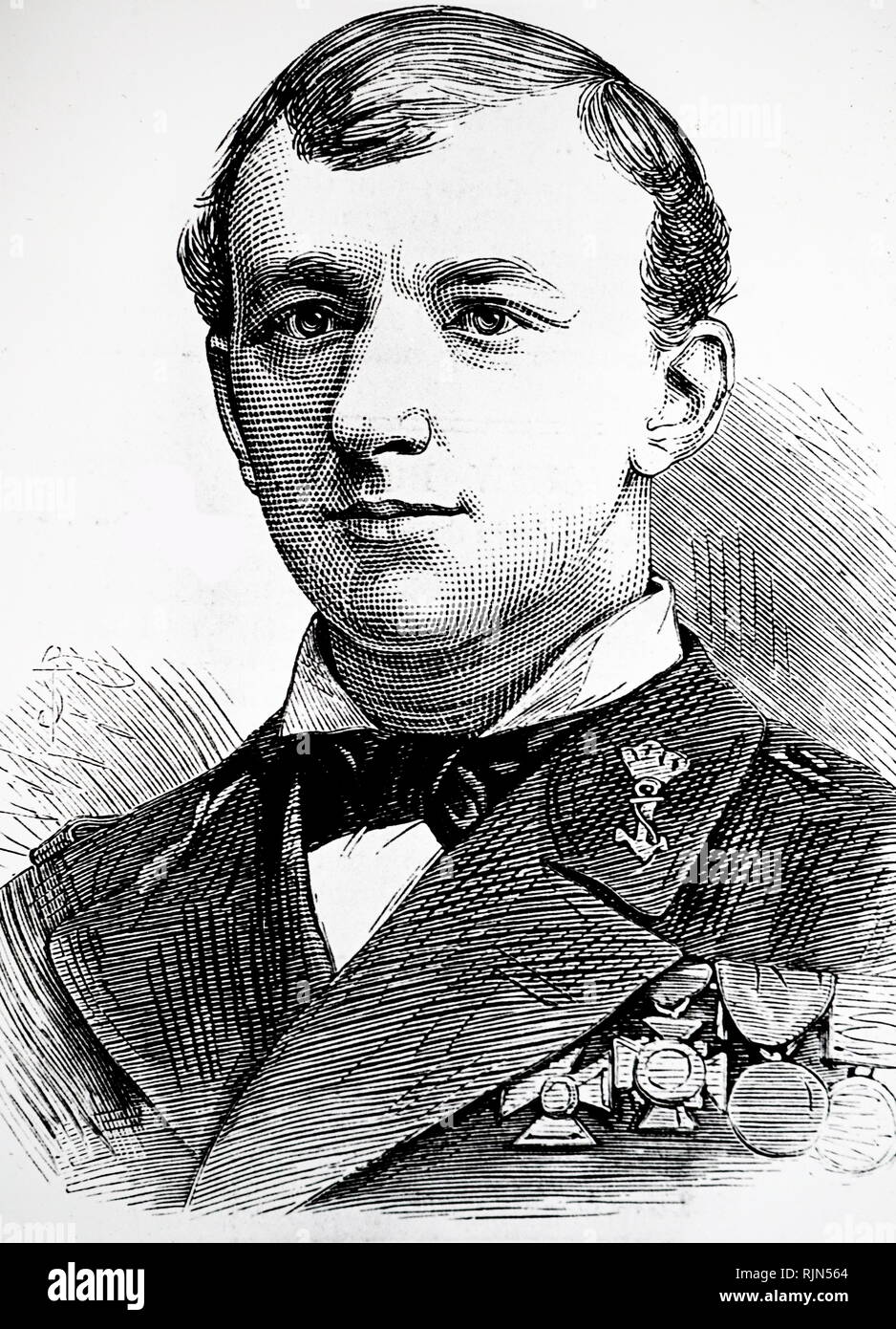 Illustration showing Lieut. Koelemans-Beynen of the Royal Dutch Navy who accompanied Sir Allen Young on two of his Arctic expeditions. From The Illustrated London News, January 1880 - Stock Image