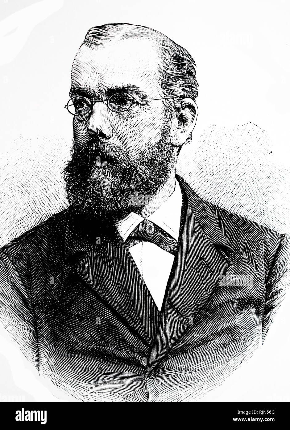 Illustration showing Robert Koch (1843 - 1910); German physician and microbiologist. As the founder of modern bacteriology, he identified the specific causative agents of tuberculosis, cholera, and anthrax and gave experimental support for the concept of infectious disease - Stock Image