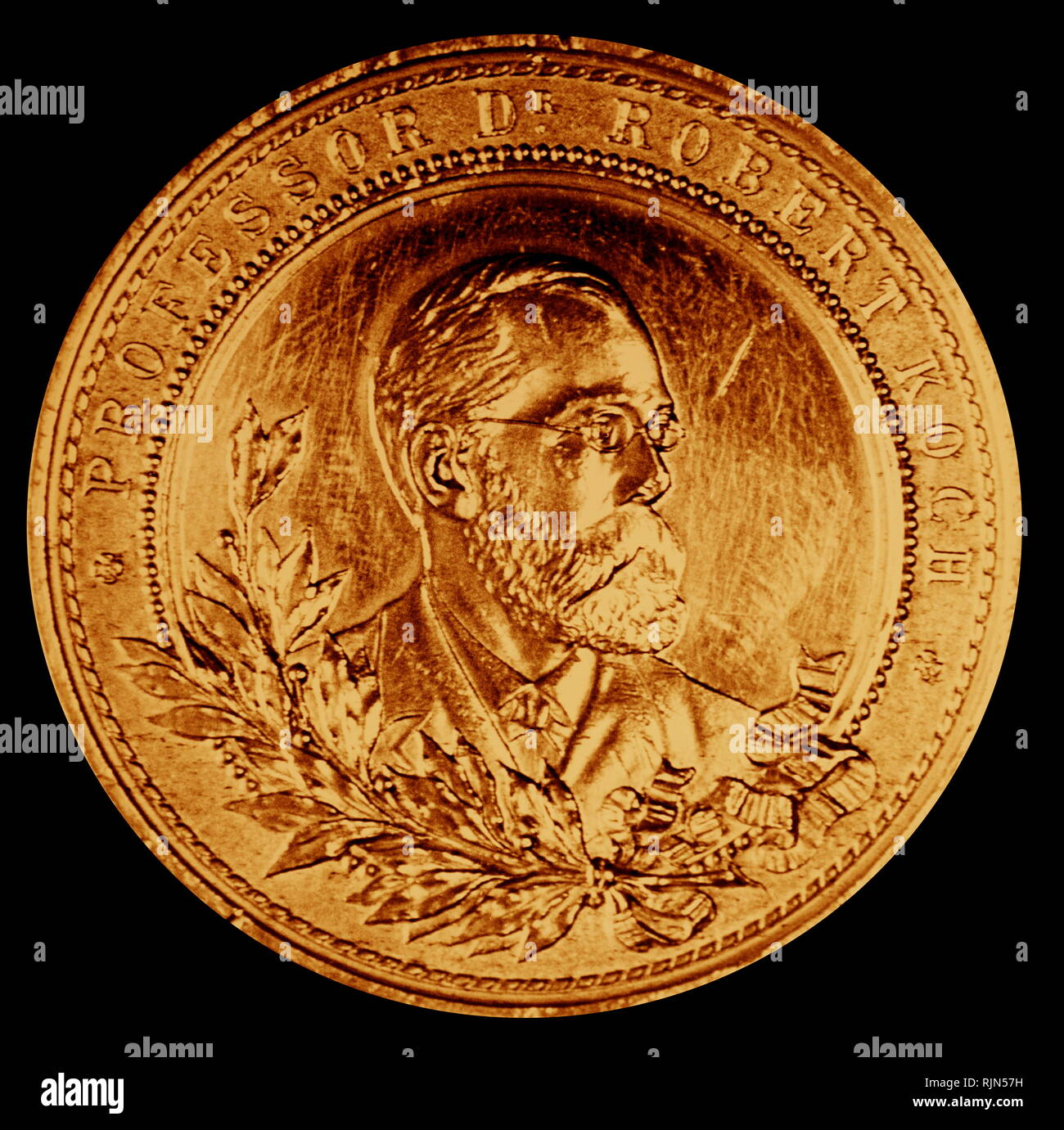 medal showing Robert Koch (1843 - 1910); German physician and microbiologist. As the founder of modern bacteriology, he identified the specific causative agents of tuberculosis, cholera, and anthrax and gave experimental support for the concept of infectious disease - Stock Image