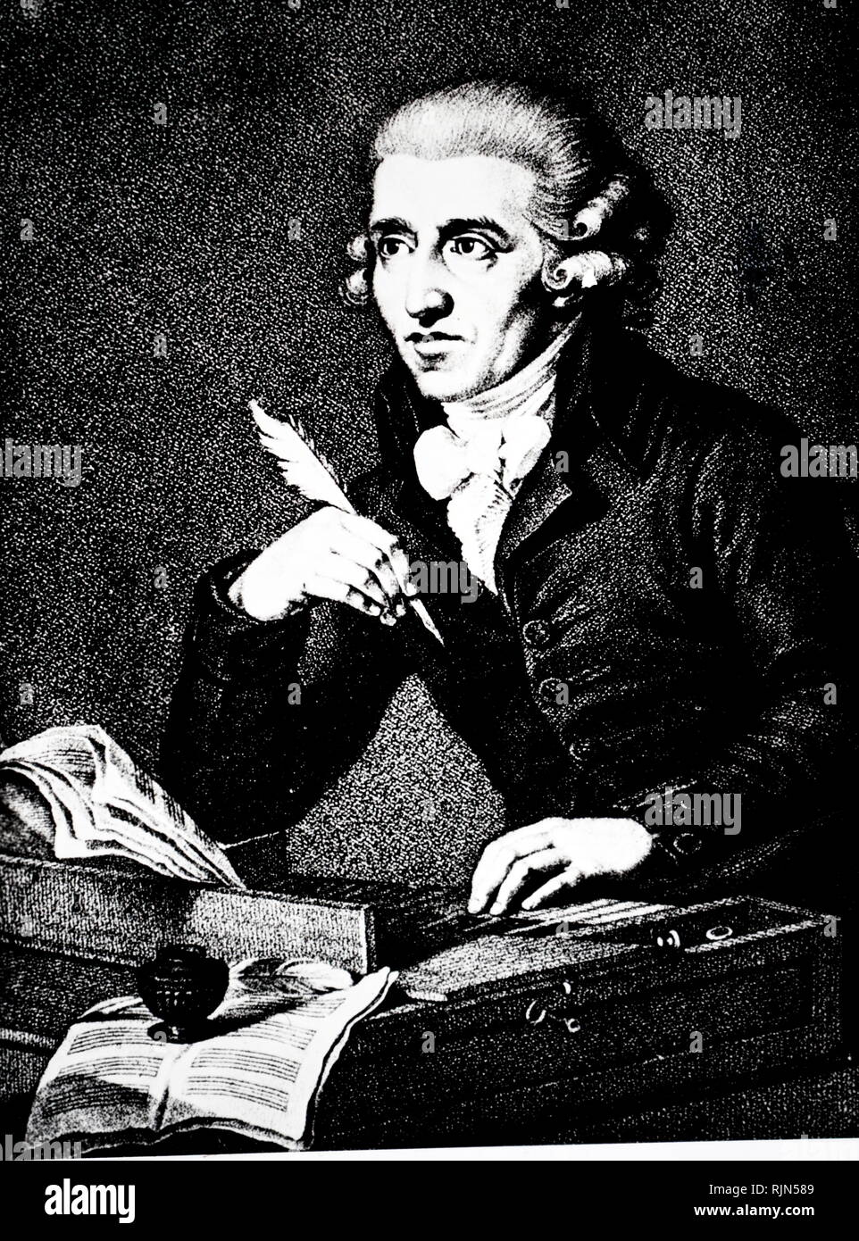 Illustration showing Joseph Haydn (1732 - 1809); Austrian composer of the Classical period. He was instrumental in the development of chamber music such as the piano trio. - Stock Image