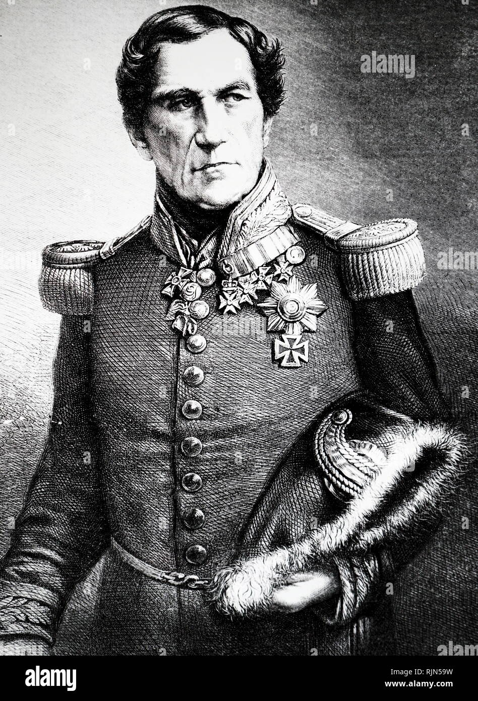 Illustration showing King Leopold I of Belgium (1790-1865) Uncle of Queen Victoria. Married George IV1s daughter Charlotte - Stock Image