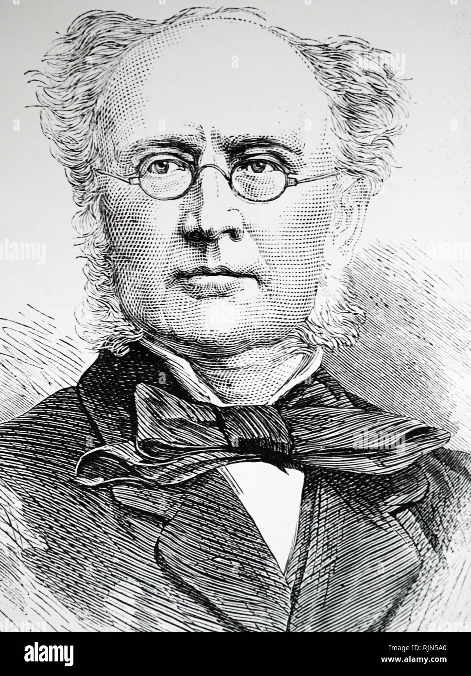 Illustration showing Prof Robert Harkness (1816 – 1878), British geologist and mineralogist Stock Photo