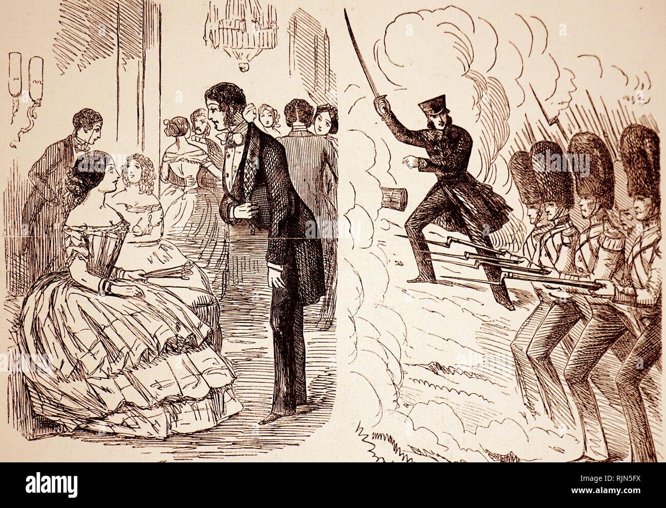 Crimean War cartoon by John Leech; Punch, 1854, showing public opinion running ahead of the Aberdeen administration, and demonstrating the eagerness of the Guards regiments to get to grips with the Russians - Stock Image