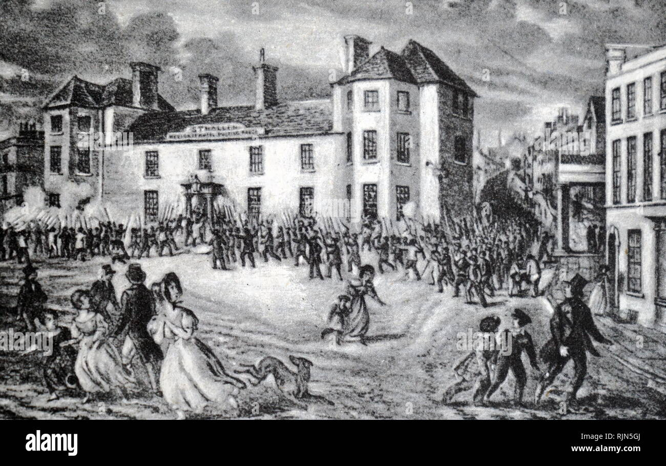 Illustration showing a chartist riot in 1839. An attack on the Westgate Inn, Newport. - Stock Image