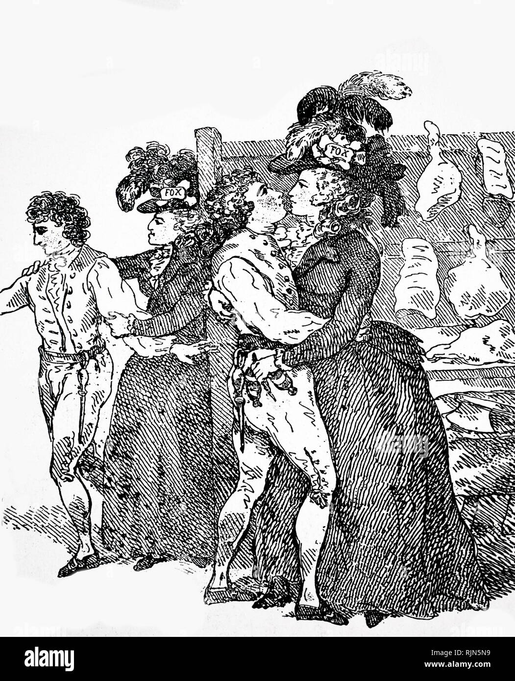 Illustration showing Charles James Fox (1748-1806), English Liberal statesman. The Duchess of Devonshire, a supporter of Fox, bartering kisses for votes at the Westminster election at which Fox was a candidate - Stock Image