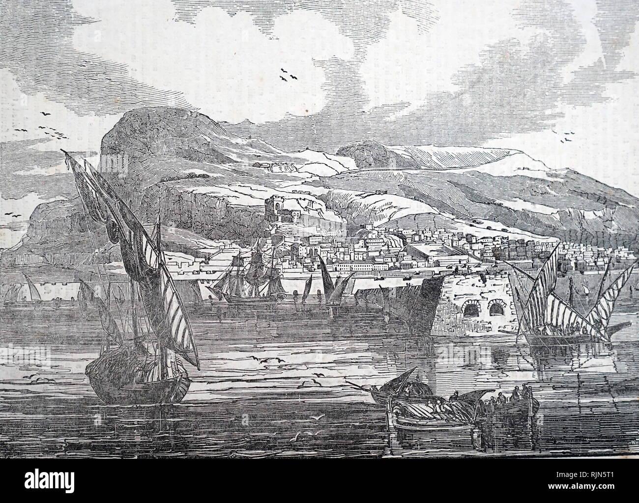 Illustration showing Gibraltar in 1833 - Stock Image