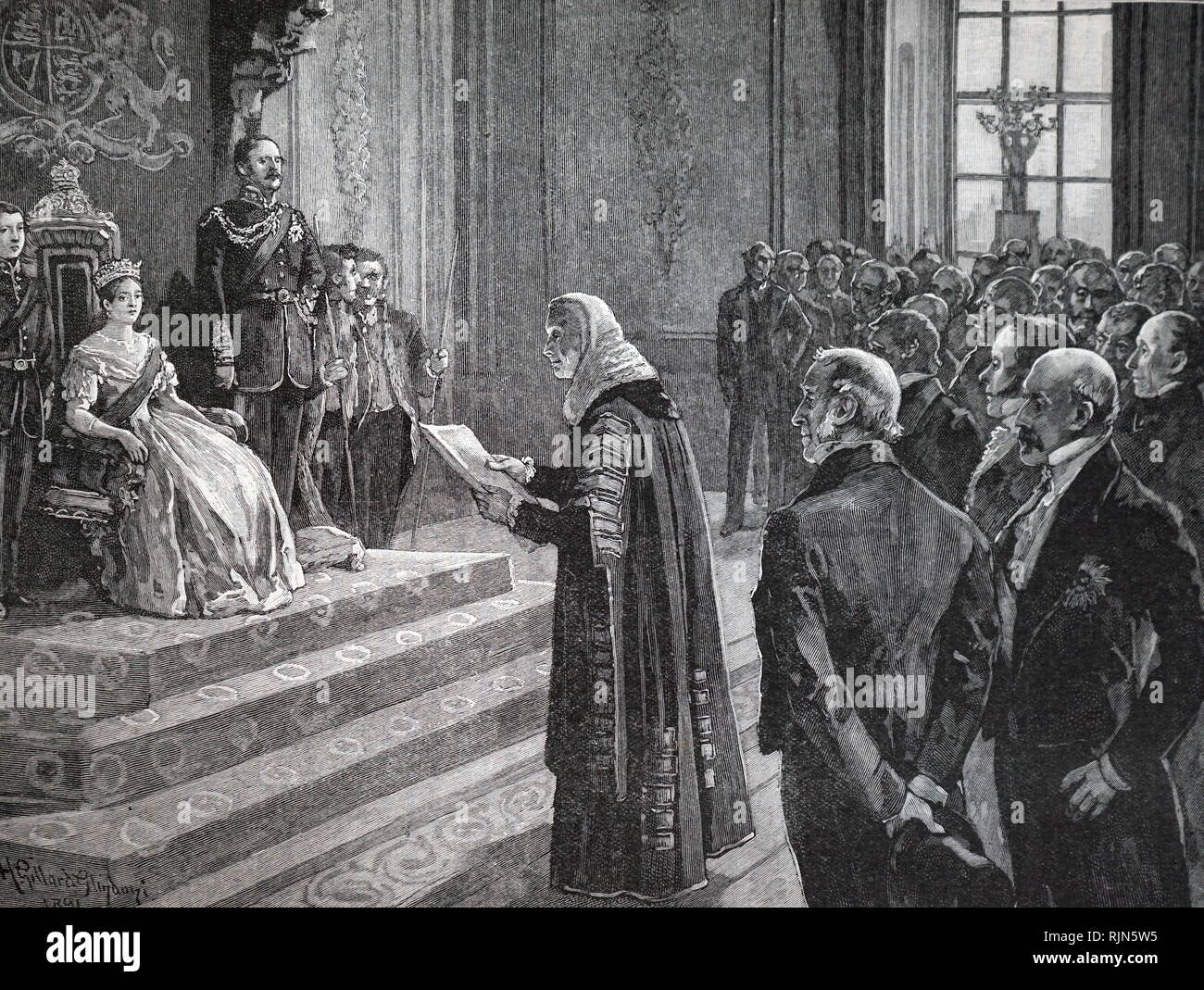 Peers and Commoners presenting a patriotic address to Queen Victoria on the eve of the Crimean War 1853. Wood engraving - Stock Image