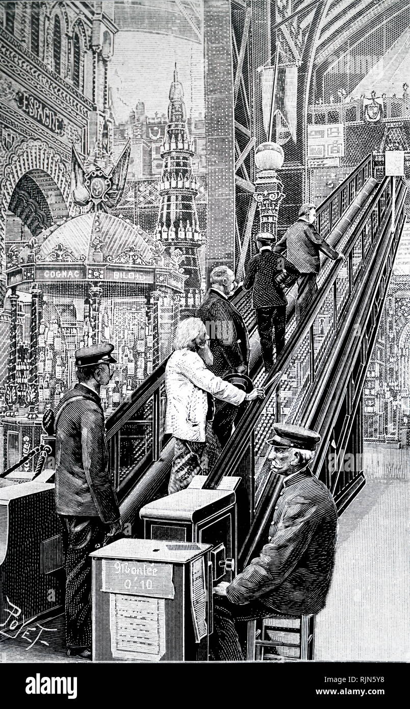 Illustration showing Escalator in use at the Paris Exposition. 1900 - Stock Image