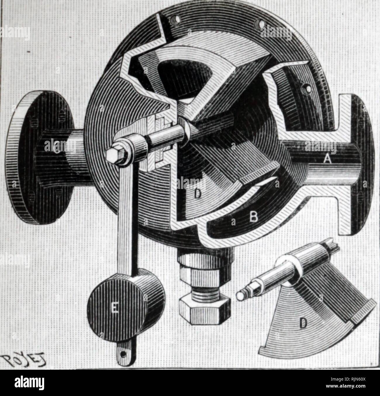 Illustration showing Leon Edoux's hydraulic passenger lift: hoist regulator. 1887 - Stock Image