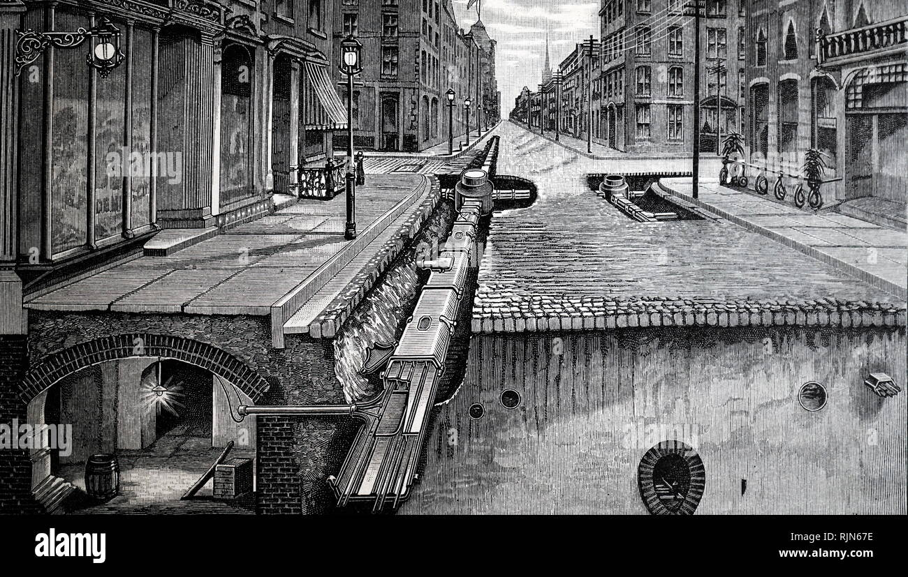 Illustration showing Electricity cables laid in a conduit in a Paris street, showing how supply was led off to individual premises. 1895 - Stock Image