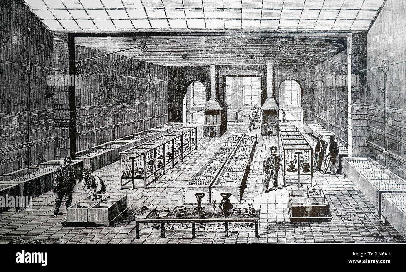 Illustration showing French electroplating workshop in the 1860's - Stock Image