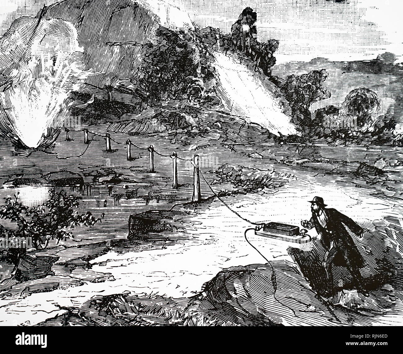 Detonating explosive charges electrically; France 1881 - Stock Image