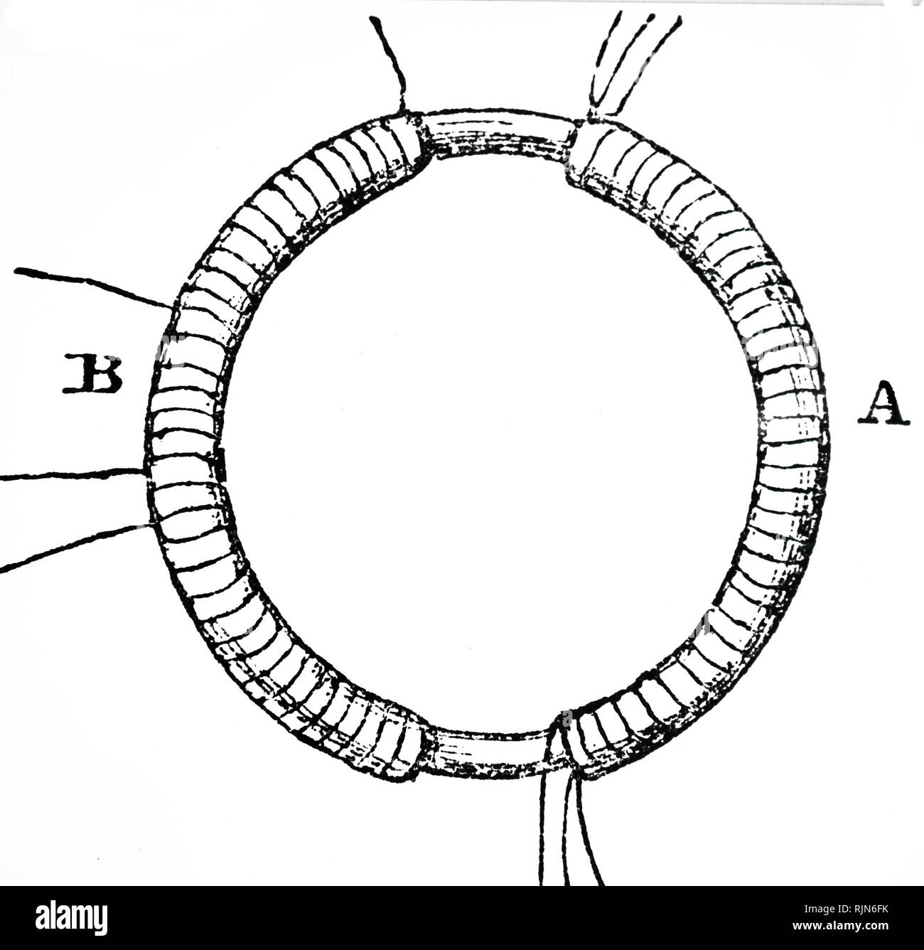 Illustration showing The first transformer. The iron ring is wound with two separate coils of wire, A and B. Both coils are wired in sections. Current through A from a battery induces a current in B. Engraving after a sketch in Faraday's notebook. From Bence Jones 'The Life and Letters of Faraday', London; 1870 - Stock Image