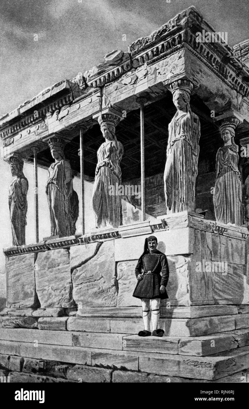 Illustration showing Ancient Athens. The Erechtheum, which stands on the Acropolis at Athens, was built in honour of the Greek hero Erechtheus and contained an image of Pallas Athene, guardian of the city. It is a building of great beauty, and much of it is still standing, though it was built well over 2,000 years ago. Here we see its remarkable porch, supported by six female figures, or caryatids as they are called, instead of ordinary pillars. - Stock Image